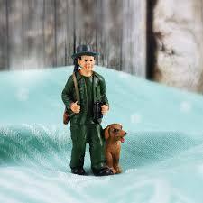 Kleine Jäger Figur Mit Hund Und Fernglas