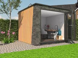 timber garden office. Mixing Timber And Slate Cladding On A Garden Office 1