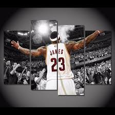 4 pieces multi panel modern home decor framed lebron james cleveland cavaliers wall canvas art on cleveland cavaliers wall art with 4 panel lebron james canvas painting pinterest lebron james