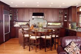 Cherry Wood Kitchen Cabinets Cherry Oak Wooden Kitchen Cabinet And Island Plus Brown Wooden