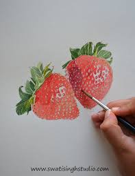 swati singh art blog how to paint realistic strawberries in watercolor join me in
