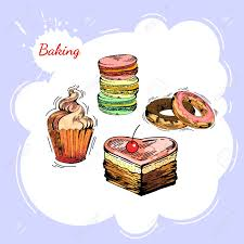 Bakery Websites Vector Set Of Bakery Sweets Hand Drawing Pastry Bakery Products