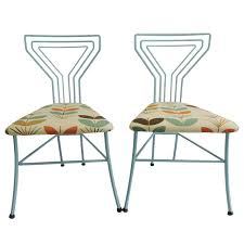 pair of modern upholstered seat martini glass wrought iron