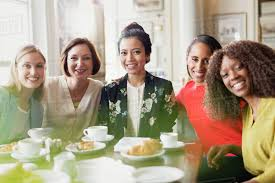 drinking coffee with friends. Wonderful Friends Portrait Smiling Women Friends Drinking Coffee At Restaurant Table With Drinking Coffee Friends L