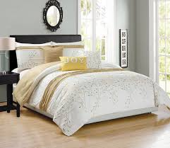 joy 6 pieces ivory gold tree branches embroidery design bedding comforter set bedding collections