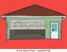 broken garage door over red csp25407763