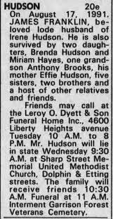 Obituary for JAMES HUDSON - Newspapers.com