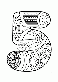Small Picture Pattern Number 5 coloring pages for kids counting numbers