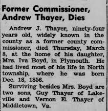 Obituary for Andrew J. Thayer - Newspapers.com