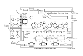 floor plan of aristotle s coffee garage as drawn in may of