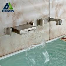 roman bath tub wall mounted brushed nickel waterfall bathroom faucet widespread 3 handles bathtub replacement