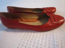 chloe red leather ballerina flats 1