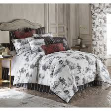 toile back in black duvet cover set linen super king size