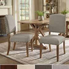 benchwright premium nailhead upholstered dining chairs set of 2 by inspire q artisan leather dining room
