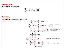 this set of tutorials shows how to solve various types of one variable equations with