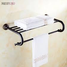 high quality bathroom towel holder shelf copper hotel fixed bath racks bar vintage retro single towel16 towel