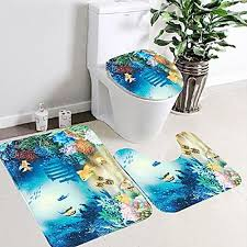 generic 3pcs set bathroom rug toilet lid cover mat set cartoon sea ocean fish animals non slip foot mat water absorb anti skid carpet specification 3