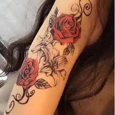 татуировка наклейка модная красная роза временный рукав для татуировки рука