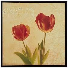"<b>Modern Red</b> and Gold Tulip Print on Canvas, Brown <b>Frame</b>, 13.75"" x ..."