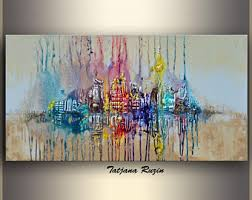 large wall art colorful modern painting xl acrylic painting abstract painting cityscape canvas art abstract art original artwork  on wall picture artwork with large wall art etsy