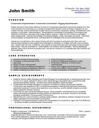 Construction Superintendent Resume Sample Calendar