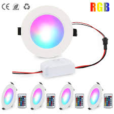 Led Round Recessed Light Rgb Ceiling Light 16 Color Changing Panel Light Dimmable Led Downlight With Led Driver Remote Control 5w Spotlight For