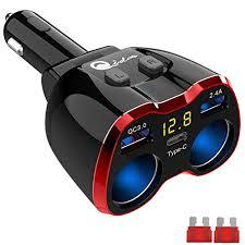 Cigarette Lighter Splitter QC 3.0, 2-Socket USB C Car Charger ...