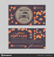 Rent A Car Business Card Template With Abstract Geometry Pattern