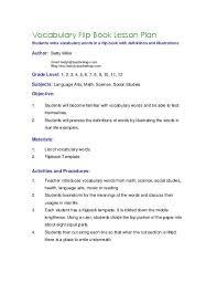Elementry Lesson Plans Vocabulary Flip Book Lesson Plan Teacherlingo Com