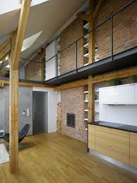 Apartment  Attic Loft Apartment With Brick Wall And Wooden Floor - Decorating loft apartments