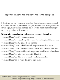 maintenance resume samples top 8 maintenance manager resume samples 1 638 jpg cb 1429948144