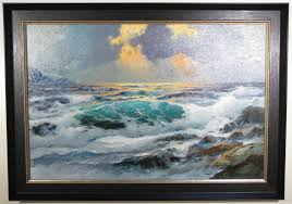 seascape oil painting in a large textured frame with a gold lip