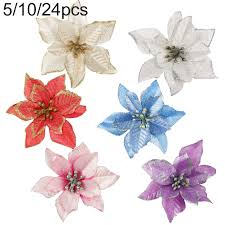 <b>5pcs Glitter Silk</b> Artificial Christmas Flowers XMAS Tree Wreaths ...