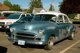OLD PARKED CARS.: 1950 Chevrolet Deluxe.