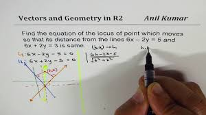 find locus of points equal distance from two lines