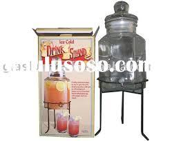 jumbo beverage drink dispenser w spigot glass lid iron stand