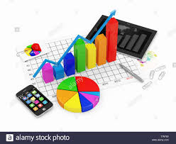 Tablet Chart Colorful Business Graph With Pie Chart Tablet Pc And