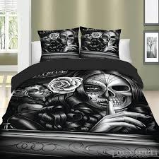 3d skull duvet cover with pillow cases gothic tattoo mask design bedding set
