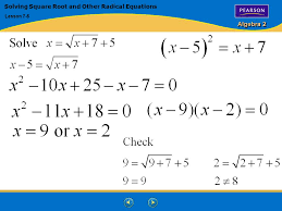 21 algebra 2 solving square root and other radical equations lesson 7 5