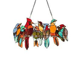 tiffany stained glass gathering birds window panel 21 x 13 handcrafted art