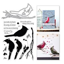 Naifumodo Bird Branch Metal Cutting <b>Dies</b> Animal Stamps and <b>Dies</b> ...