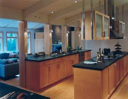 black granite countertops with maple cabinets clear finished rail shaker style this kitchen is the perfect example of a trendy open concept kitchen