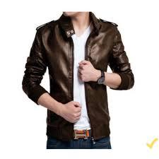 men pu leather high street jacket brown xs