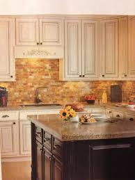 Brick Backsplash Tile kitchen brick backsplash tile white and cherry kitchen cabinets 1588 by guidejewelry.us
