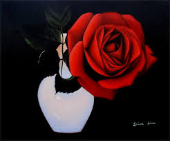 details about quality hand painted oil painting vase with a red rose beautiful 20x24in