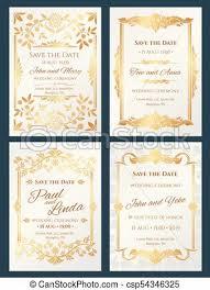 Elegant Invitation Cards Save The Date Luxury Vector Wedding Invitation Cards With Gold Elegant Border Frame