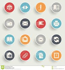 Email Buttons Email Icons With Color Buttons On Gray Background Stock