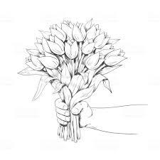 手に花束を持ってくださいライン アートベクトルの図