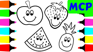 Coloring Happy Fruits For Kids How To Draw Coloring Books For