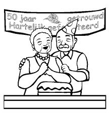 50 Jarig Huwelijk Kleurplaat Gefeliciteerd